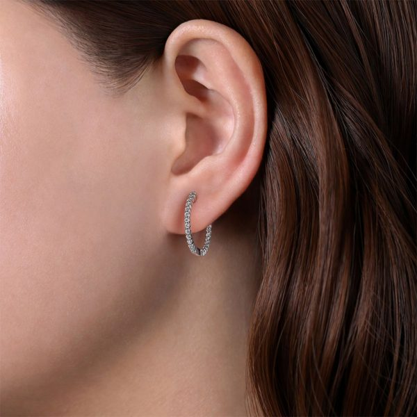 Classic Inside Out Diamond Hoops by Gabriel & Co.