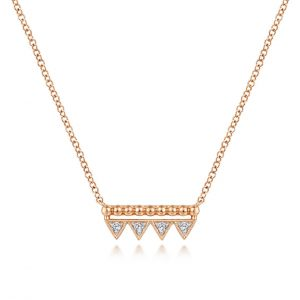 Bujukan Beaded Diamond Triangle Bar Necklace