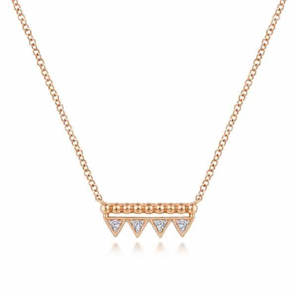 Bujukan Beaded Diamond Triangle Bar Necklace