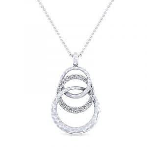 White Sapphire Hammered Layer Circle Pendant