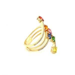 Tsavorite, Multi-Color Sapphire, and Diamond Ring