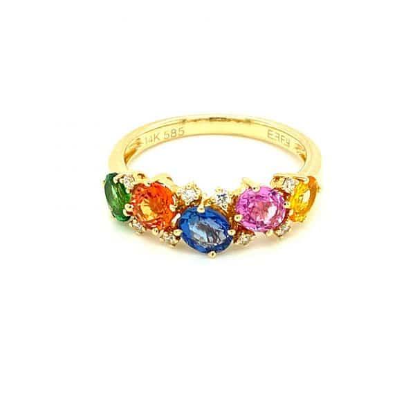 Tsavorite, Multi-Color Sapphire, and Diamond Band