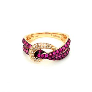 Twisted Ruby and Diamond Ring