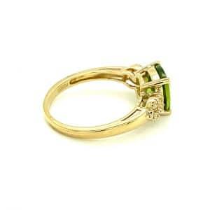 Cushion Peridot and Diamond Ring