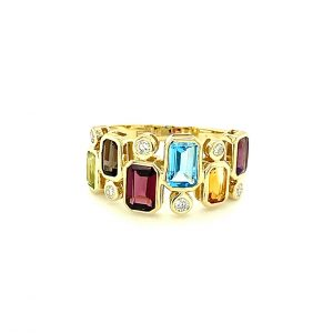 Bezel Set Gemstone and Diamond Ring