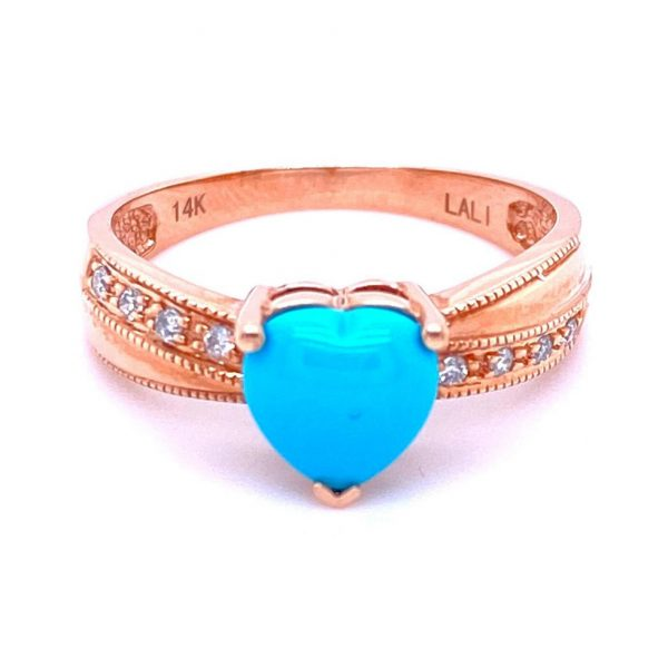 Heart Shaped Turquoise and Diamond Ring by Lali
