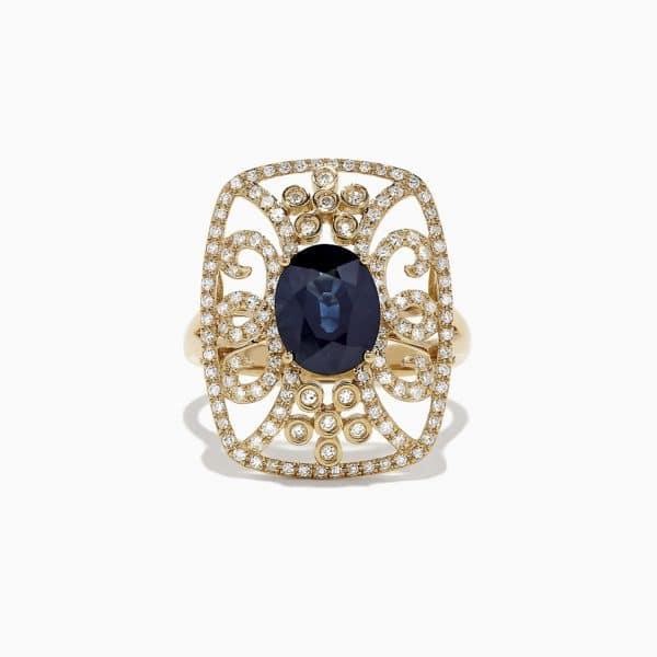 Sapphire and Diamond Openwork Ring