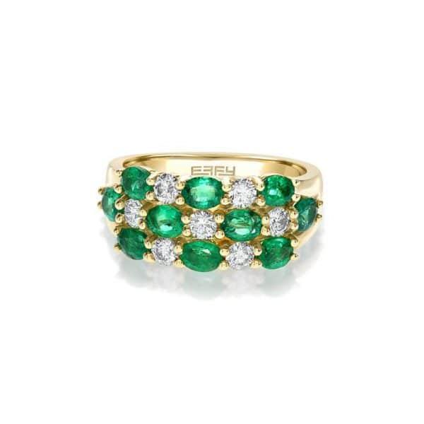 Emerald and Diamond Checkerboard Ring