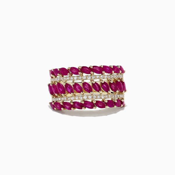 Marquise Ruby and Diamond Wide Band