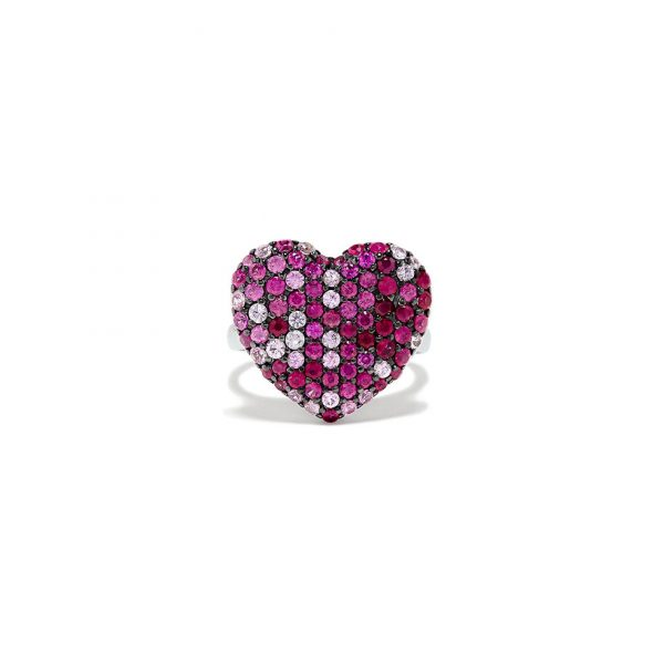 Ombre Ruby Pave Heart Ring