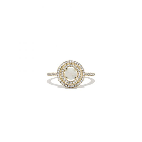 Opal and Diamond Double Halo Ring