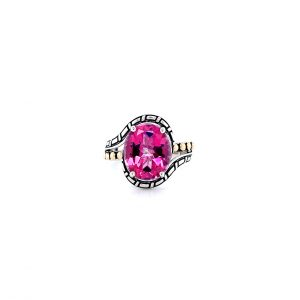 Oval Pink Topaz Ring