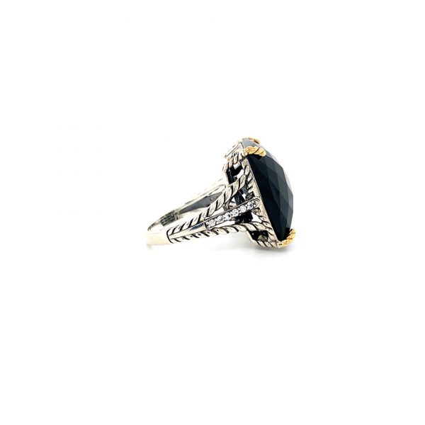 Onyx and White Sapphire Ring