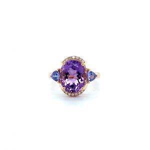 Amethyst Tanzanite and Diamond Ring