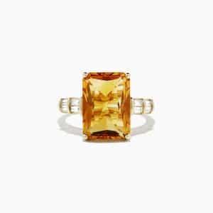 Madeira Citrine and Diamond Ring