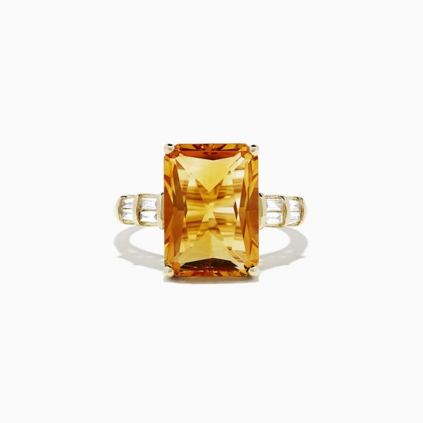 Madeira Citrine and Diamond Ring