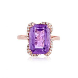 Fantasy Cut Amethyst and Diamond Ring