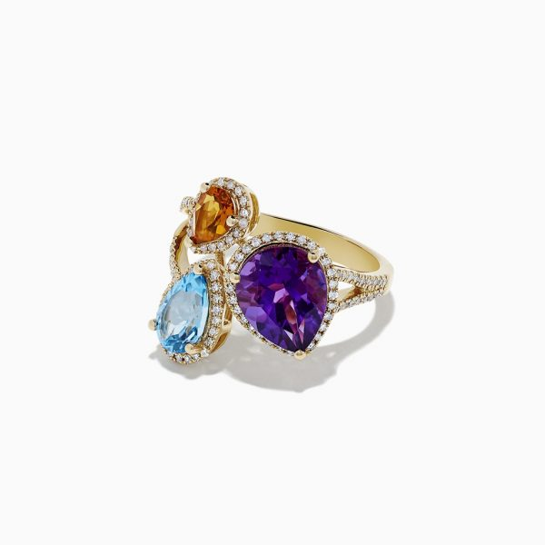 Multi-Color Gemstone and Diamond Ring