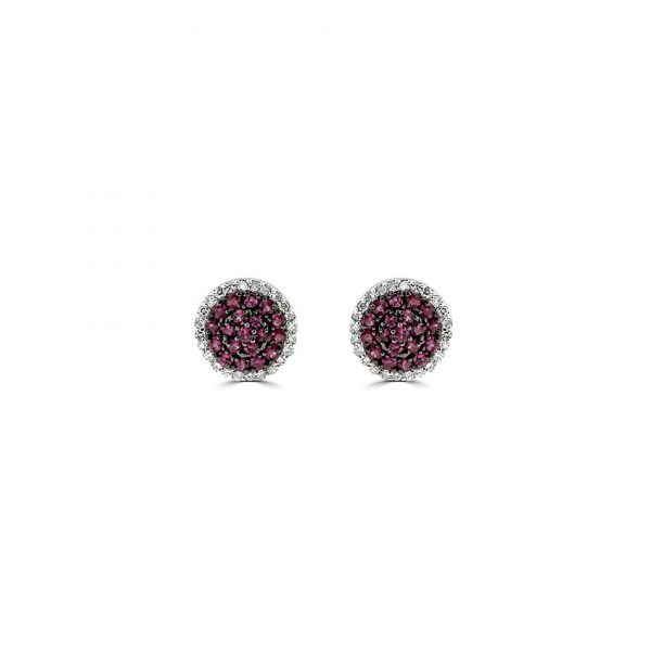 Ruby and Diamond Cluster Studs