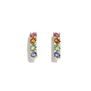 Multicolor Sapphire and Diamond Hoops