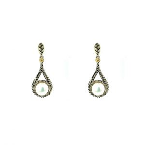 Freshwater Pearl Button Drop Earrings