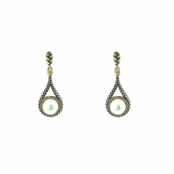 Freshwater Pearl Button Drop Earrings