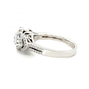 Estate Halo Three Stone Engagement Ring