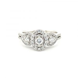 Estate Halo Three Stone Engagement Ring