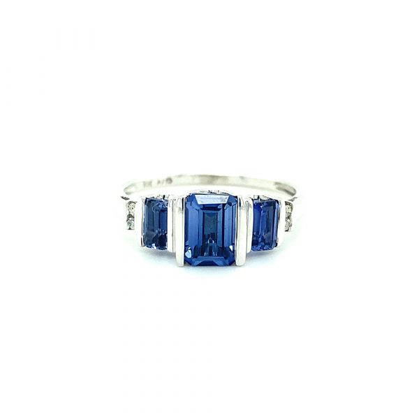 Estate Three Stone Tanzanite Ring