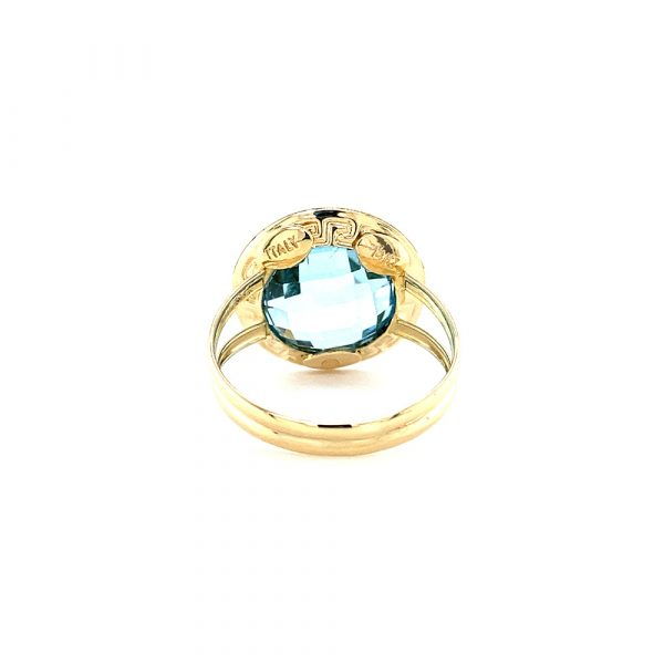 Estate Checkerboard Blue Topaz Ring
