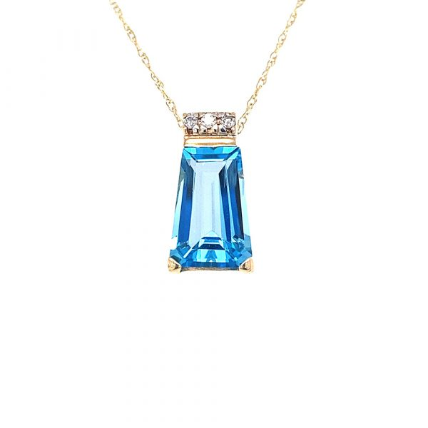 Estate Trapezoid Blue Topaz Pendant