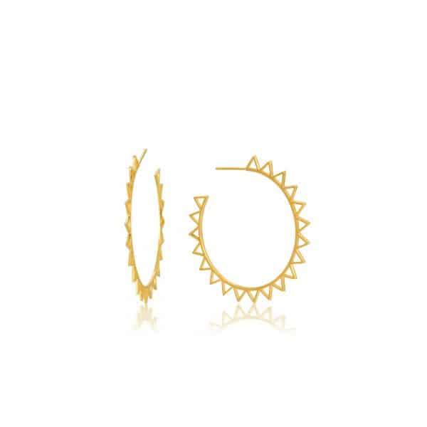 Spike Gold Hoop Earrings