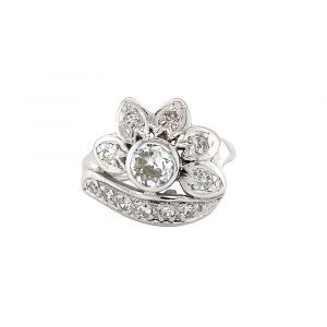 Estate Retro Diamond Floral Ring
