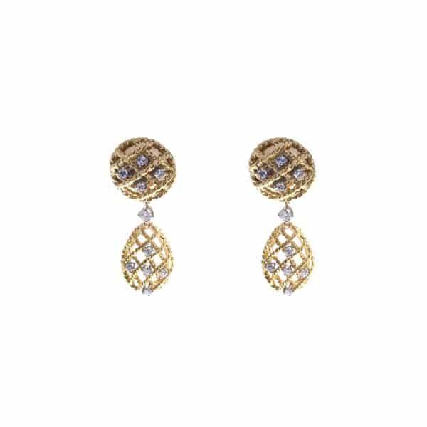 Estate Non-Pierced Diamond Drop Earrings