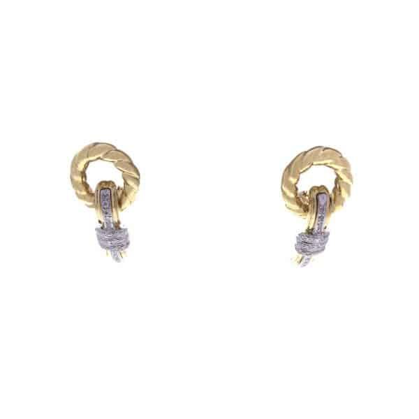 Estate Two-tone Diamond Drop Earrings