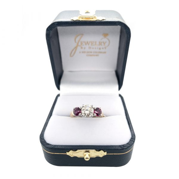 Estate Ruby and Diamond Engagement Ring