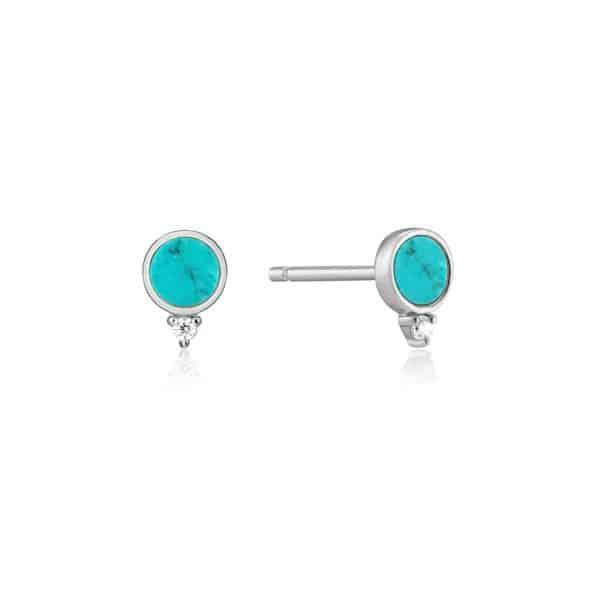 Silver Turquoise Stud Earrings