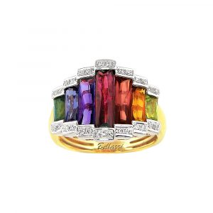 Rainbow Gemstone and Diamond Ring