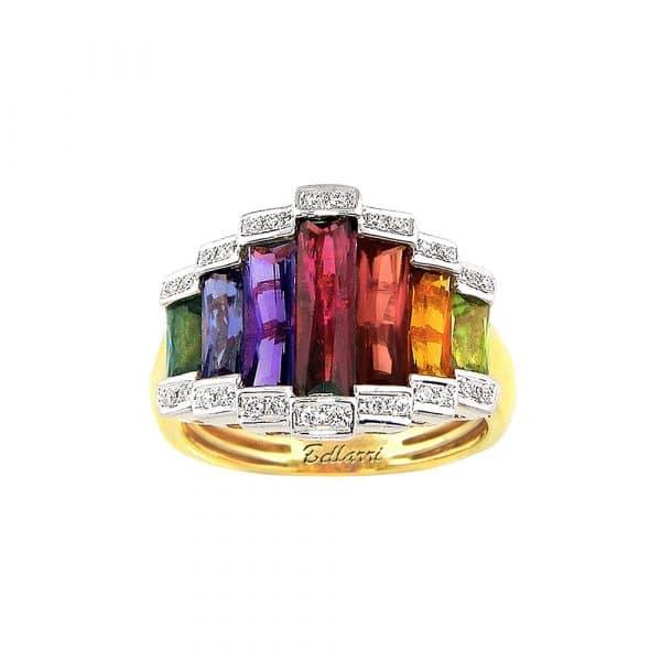 Rainbow Gemstone and Diamond Ring