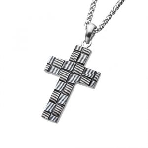 mens cross pendant with a basket weave pattern in stainless steel on stainless steel chain