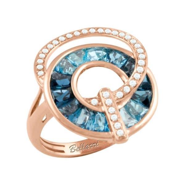 Bellarri rose gold blue topaz ring
